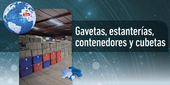 Gavetas, estanterías, contenedores y cubetas